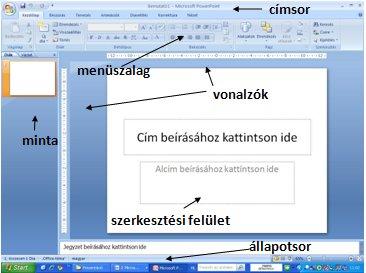 b4bd106723 A PowerPoint ablak felépítése. A program megnyitása után a megjelenik a  programablak: